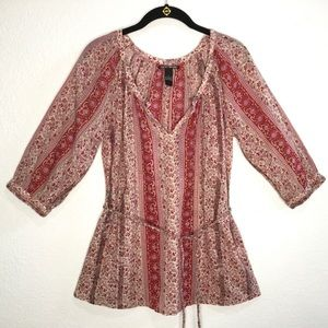 Lucky Brand floral peasant/boho top w/belt size S